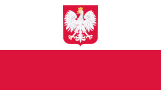 Polish Flag with Eagle Coat of Arms