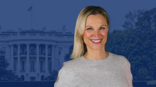 Photo of Juliet Huddy with White House in the background covered in a blue overlay.