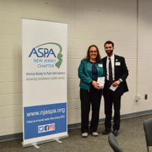 Roseanne Mirabella, Ph.D., and Timothy Hoffman, M.P.A., at the ASPA award ceremony.