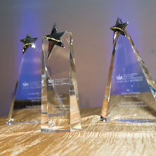 Photo of Entrepreneur Hall of Fame trophies