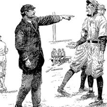 Old drawing of a baseball player and umpire
