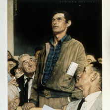Norman Rockwell's Freedom of Speech painting depicting a man standing above others at a table