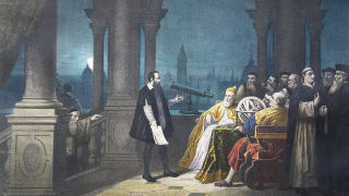 Galileo using his telescope to teach about the cosmos.