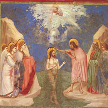 Painting of Giotto's Baptism of Jesus in the Scrovegni Chapel in Padua.