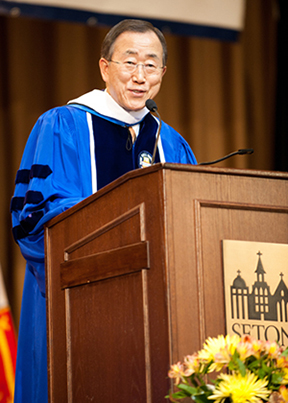 UN Secretary-General Ban Ki-moon at Seton Hall