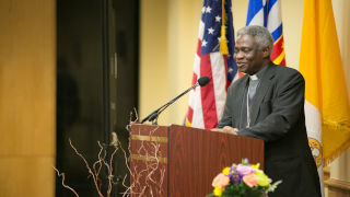 Photo of Cardinal Turkson speaking at a podium