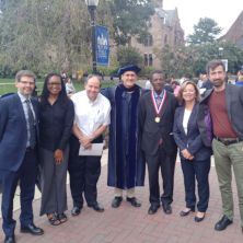 Pictured from left to right: Acting Dean Courtney Smith, Professor Fredline M'Cormack-Hale, Professor Martin Edwards, Professor Benjamin Goldfrank, Professor Assefaw Bariagaber, Professor Ann Marie Muprhyand Professor R. Joseph Huddleston