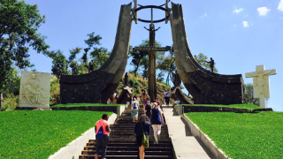 Students walking up steps in El Salvador