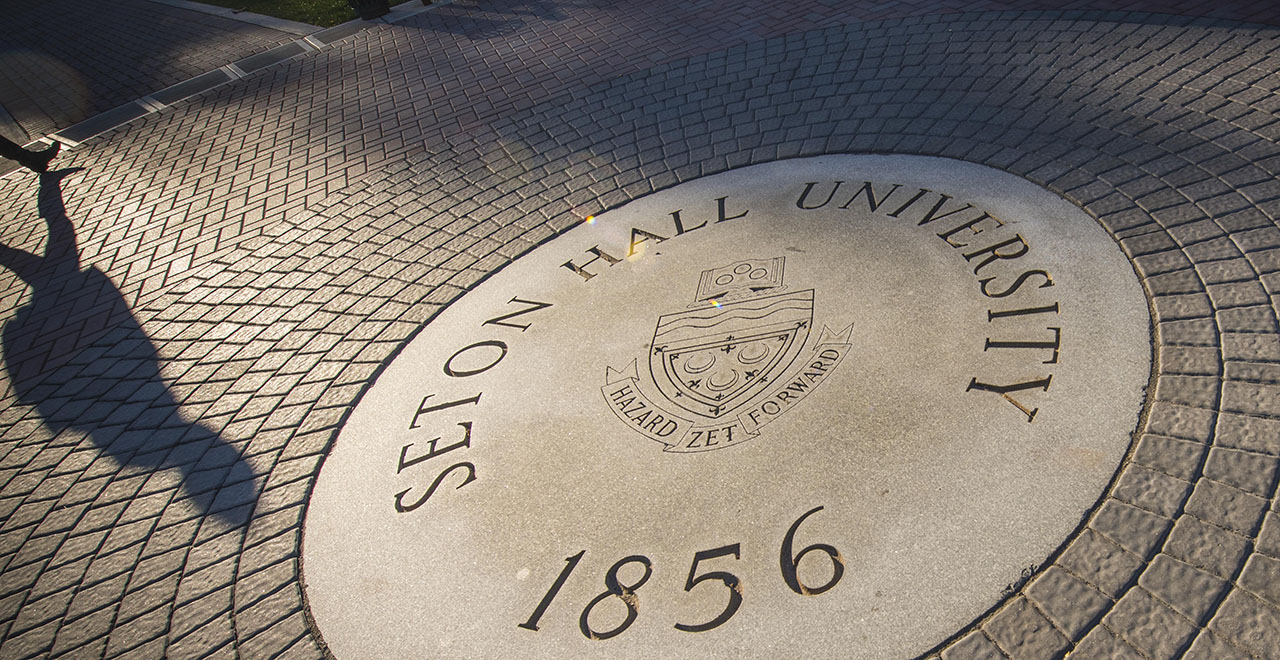 Seton Hall University Seal on the Green