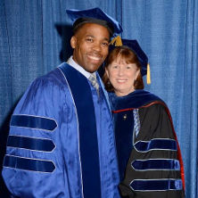 Timothy Gouraige (left) and Dr. Maureen Gillette, dean of CEHS (right).