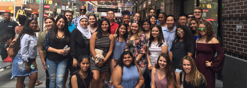 Members of the First Generation Program in NYC at School of Rock on Broadway.