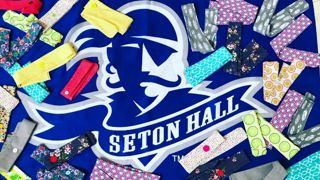 Fundraiser headbands on SHU Flag