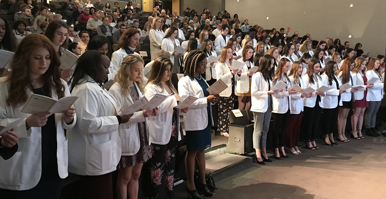 Nursing Students at the White Coat Ceremony Held on the IHS Campus
