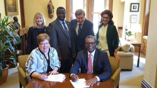 Signing of the Stillman School of Business and Essex County College Articulation Agreement.