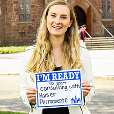 Abigail Hofmann participating in Seton Hall's I'm Ready Campaign.