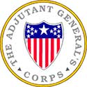 The seal of the Adjutant General's Corps has a shield in the middle with the American flag painted on it.
