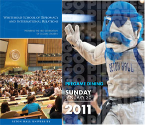 Seton Hall Pirate Mascot in a Seton Hall advertisement.