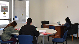 Seton Hall students in the new after hours study space. x320