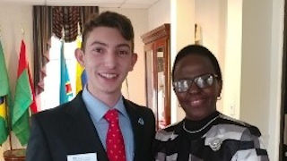 Ambassador pictured with Leadership Student