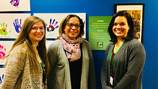 Amy Sheppard (center), LCSW, with Seton Hall University's BSW Intern, Kayla Raff (left), and MSW Intern, Adrienne Sauer (right)