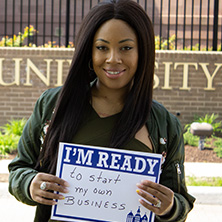 Ashley Wilson participating in Seton Hall's I'm Ready Campaign.