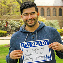 Brandon Cintron participating in Seton Hall's I'm Ready Campaign.