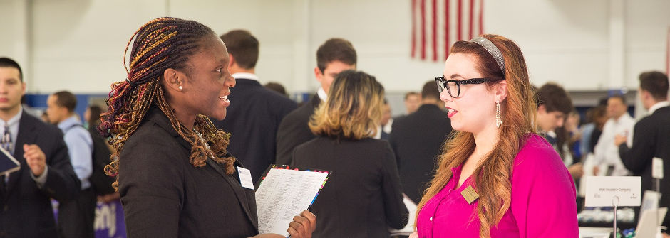 Student and Employer Speak at Career Fair