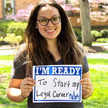Carolina Romero participating in Seton Hall's I'm Ready Campaign.