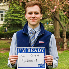 Chase Mulligan participating in Seton Hall's I'm Ready Campaign.