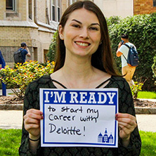 Christine Karolweski participating in Seton Hall's I'm Ready Campaign.