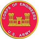 The Corps of Engineers seal is a red circle with a golden castle in the center.