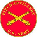 The Field Artillery seal is a red circle with two golden cannons crossed in the center.
