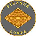 The Finance Corps seal is a grey circle with an orange diamond in the center.