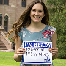 Gabrielle Apuzzo participating in Seton Hall's I'm Ready Campaign.