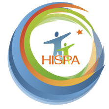 HISPA logo of cartoon people in the center of different colored swirls.