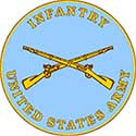 The Infantry seal is a light blue circle with golden rifles crossed in the center.