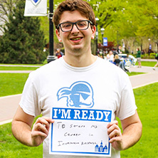 Jacob Kalb participating in Seton Hall's I'm Ready Campaign.