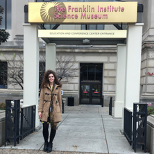 Jacquelyn Coletta in front of the Franklin Institute.