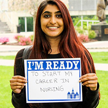 Komal Modh participating in Seton Hall's I'm Ready Campaign.