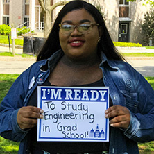 Layla Ogletree participating in Seton Hall's I'm Ready Campaign.