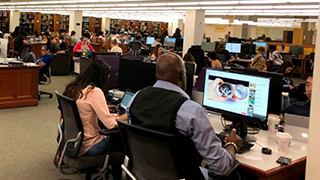 Seton Hall students in library x320
