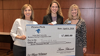 Madison Schott, Pirates Pitch 2018 Winner with Dean Strawser and Susan Scherreik