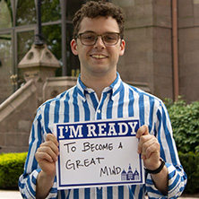 Matt Minor participating in Seton Hall's I'm Ready Campaign.