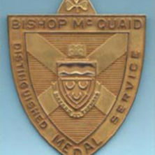 Photo of a bronze shield-shaped medal
