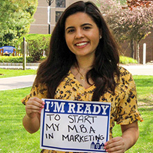 Michelle Neto participating in Seton Hall's I'm Ready Campaign.