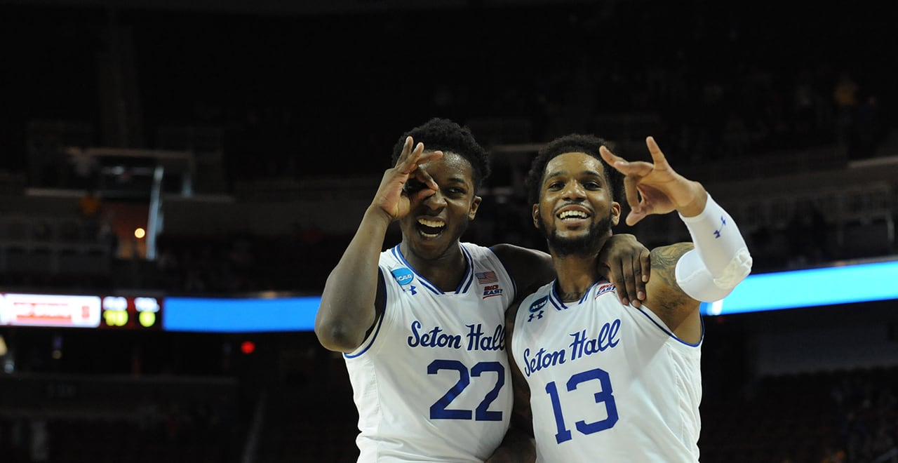 Myles Cale and Myles Powell Celebrate NCAA Tournament Win