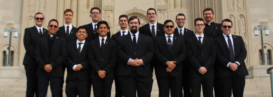 St Andrew's College Seminarians outside cathedral