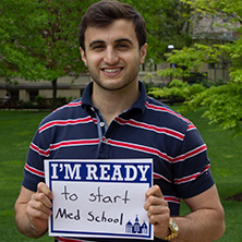 Nicholas Cozzarelli participating in Seton Hall's I'm Ready Campaign.