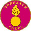 The Ordinance Corps is a pink circle with a flaming artillery shell in the middle.