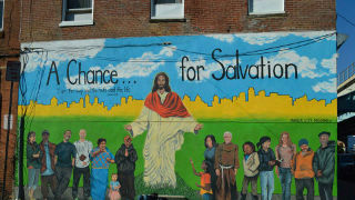 Mural of Jesus in Philadelphia.